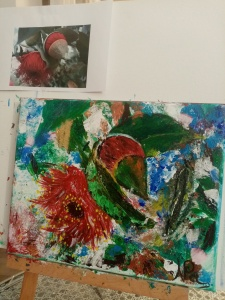 flowers and leaves painted on a canvas