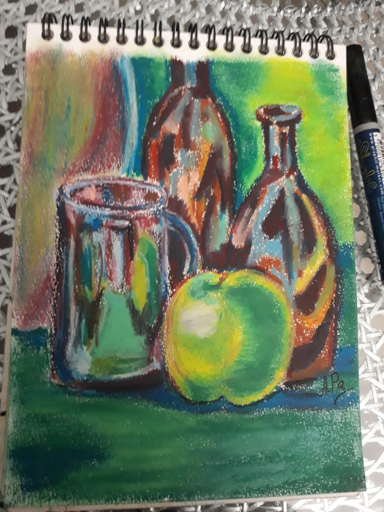 Drawing. a cup, an apple, two color glass bottles and a vase on a table