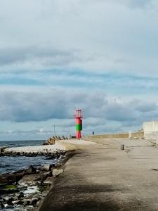 lighthouse, clouds, blue sky, sea, asphalt road