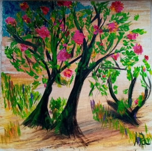 trees with pink flowers painted on a canvas
