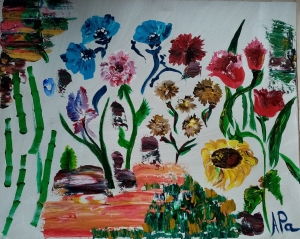 different flowers painted on a canvas