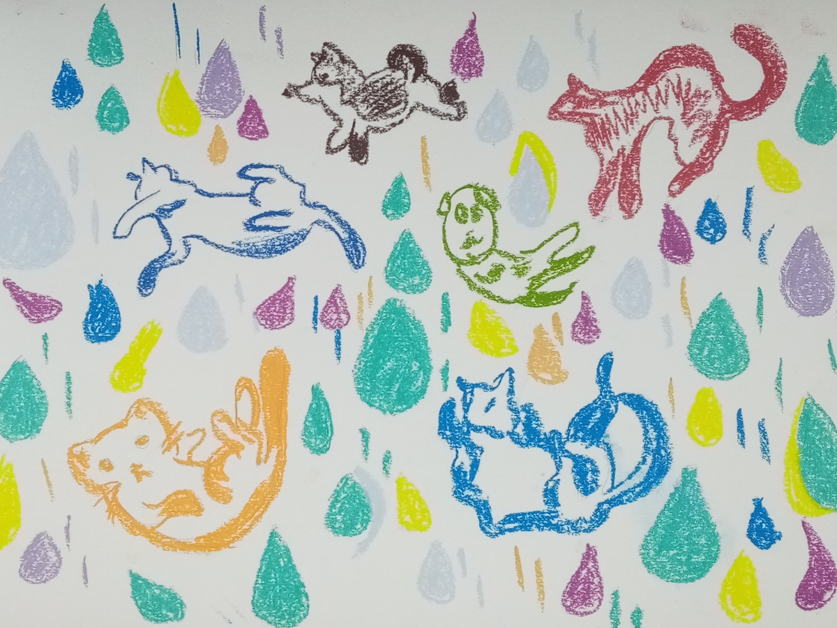 the drawing with flowing down cats and dogs with drops of water in color pastel