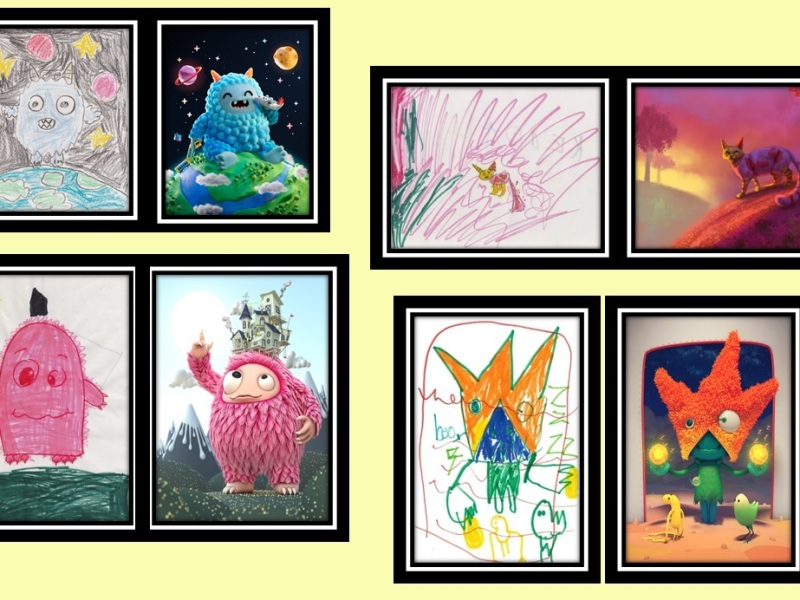 pictures of children drawings with professional drawings