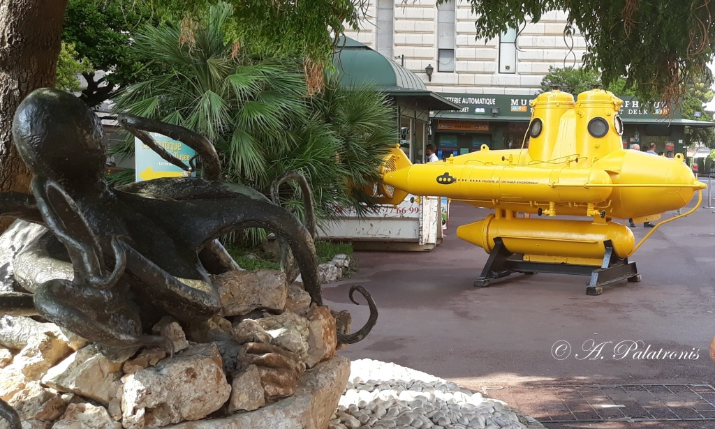 yellow submarine standing on a ground