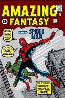 Illustration: Spider-Man debuts: Amazing Fantasy #15 (Aug. 1962).