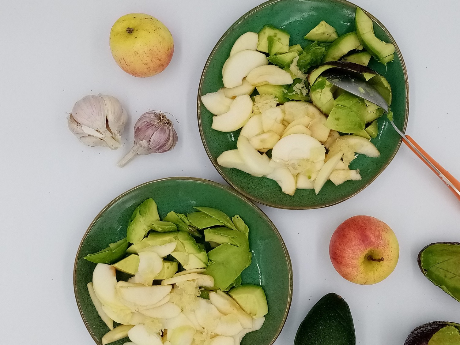 Vegan easy salad from my mother-in-law: just an apple, avocado and garlic. Made by Dr. Alisa Palatronis