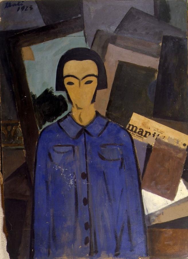 """Self-portrait with """"L'Humanité"""", 1923, by Salvador Dali"""