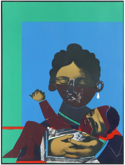 Mother and Child, 1977, by Romare Bearden. Technique: silkscreen with photolithograph, signed in pencil.